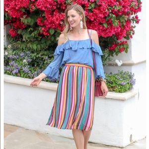 "Who What Wear ""Rainbow"" Pleated Skirt"